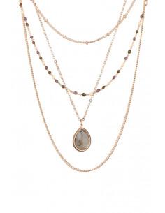 Collier Ariane Moonstone orné de Quartz Rose & Aqua Calci & Labradorite