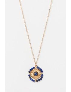 Collier Lila Moonstone orné de Aventurine Bleue