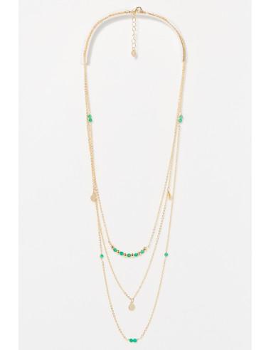 Collier Lila Moonstone orné de Amazonite Verte