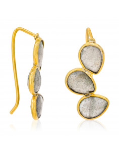 Boucles d'oreilles Cyrielle Moonstone ornées de cristal de roche