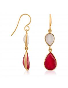 Boucles d'oreilles Maïa Moonstone ornées de Amazonite Verte & Quartz Rose
