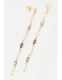 Bracelet Laurélie Moonstone orné de Aventurine Rose & Aventurine Bleue