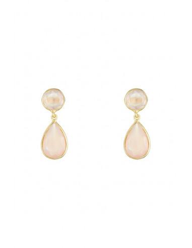 Boucles d'oreilles Célia Moonstone ornées de Calcédoine Rose & Quartz Rose