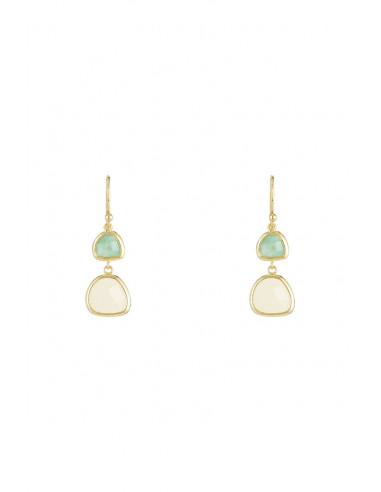 Boucles d'oreilles Maïa Moonstone ornées de Aventurine Rose & Aventurine Verte