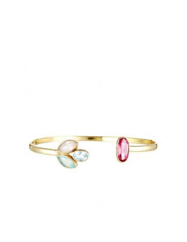 Bracelet Roséna Moonstone orné de Calcédoines Blanche Et Rose & Topaze Bleue & Aventurine Rose