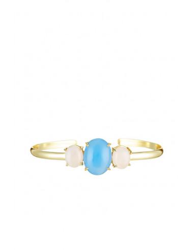 Bracelet Gladys Moonstone orné de Onyx Bleu & Quartz Rose