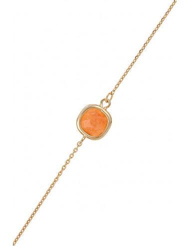 Bracelet Lilou Moonstone orné de Aventurine Rouge (Orange)
