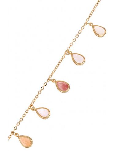 Bracelet Fanny Moonstone orné de Aventurine Rose & Quartz Rose & Quarzt Rouge