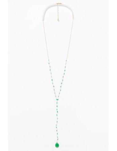 Collier 'Enora' acier inoxydable, vert jade