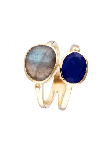 Bague Ocèane Moonstone ornée de Labradorite (Gris) & Jade (Bleu)