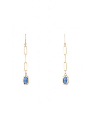 Boucles d'oreilles 'Saïna' Aventurine bleue