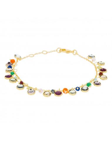 """Bracelet """"Letty"""" Topaze bleue, Quartz rose, Quartz blanche, Préhnite, Iolite"""
