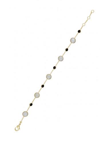 """Bracelet """"Neela"""" Pierre de lune et Onyx"""