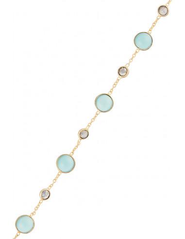 """Bracelet """"Neela""""  Aqua Calci et Labradorite"""