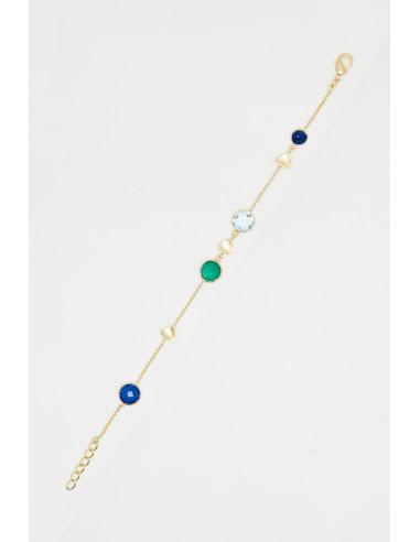 "Bracelet ""Augustine"" Lapis, Topaze bleu et Agate verte"